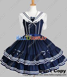 Sweet Lolita Gothic Punk Jumper Skirt Navy Blue Sailor Dress