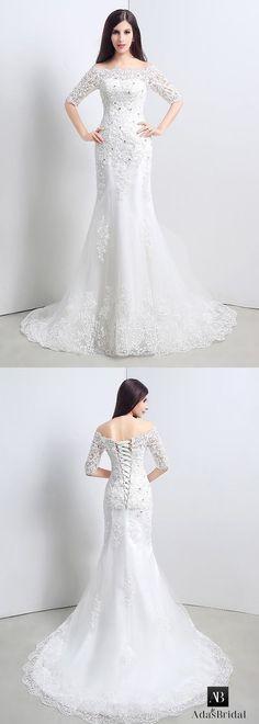 Mermaid Wedding Dresses : In stock charming tulle off-the-shoulder mermaid wedding dresses with lace appli