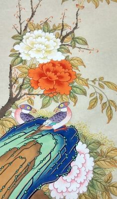 Korean Painting, Korean Art, Japanese Embroidery, Botanical Prints, Japanese Art, Peonies, Diy And Crafts, Oriental, Projects To Try
