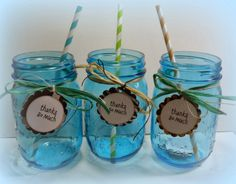 Blue mason jars w/thank you tags for baby shower