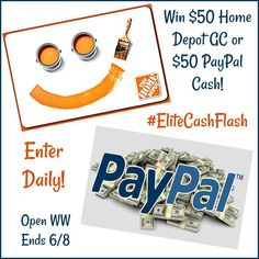 $50 Home Depot Gift Card or Paypal Cash
