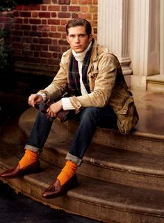 Photo Op USA white knit chunky turtleneck sweater, ochre socks, brown loafers with tassels and blue jeans...autumn style