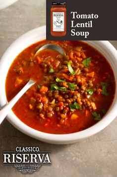 Lentil soup with a garlic flair, a true crowd-pleaser.  Classico Riserva Roasted Garlic with spices and extra virgin olive oil for a simple recipe you are sure to impress with.