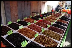Outdoor market in Turkey - olive lovers' paradise! #food #olives #travel