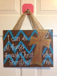 Hand painted scripture with cross on canvas with by TheKraftKave, $20.00