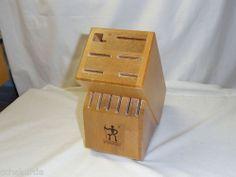 Wooden Knife Block 12 Slot Chef Cutlery J A Henckels Brown Storage Birch Wood   eBay