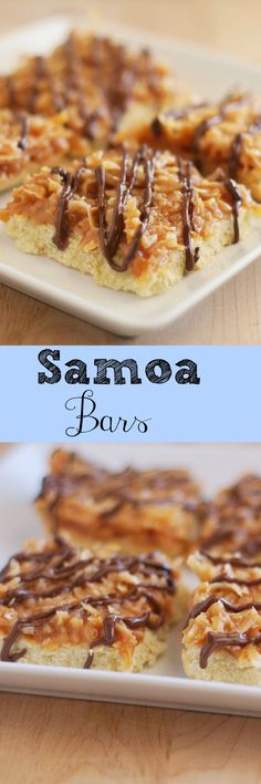 Samoa Bars recipe - just like your favorite Girl Scouts cookies! And so easy! Mini Desserts, Cookie Desserts, Easy Desserts, Cookie Recipes, Delicious Desserts, Dessert Recipes, Yummy Food, Bar Recipes, Copycat Recipes
