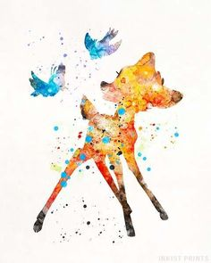 Bambi Disney Watercolor Wall Art Poster - Prices from $9.95 - Click Photo for Details - #disney #watercolor #babyroom #homedecor #nursery #Bambi