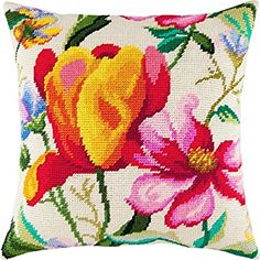Printed Tapestry Canvas Dog Rose European Quality Throw Pillow 16/×16 Inches Needlepoint Kit