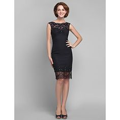 Sheath/Column Plus Sizes / Petite Mother of the Bride Dress - Black Knee-length Sleeveless Chiffon / Tulle – USD $ 89.99