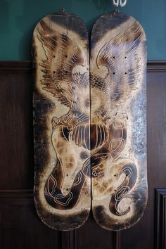 Double hand carved skate board