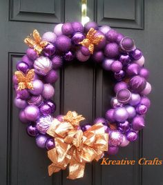 Purple and Orange Christmas Winter Wreath!  Beautiful and Unusual all at the same time.