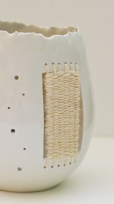porcelain and wool table lamp - by Thread&Throws