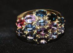 14K Colorful Multi-stone Gem Stone Cocktail Ring,1970's