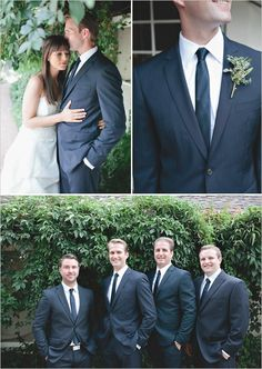 navy pinstripe groom look http://www.weddingchicks.com/2013/11/27/comfortable-california-wedding/