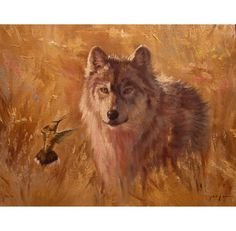 Hummingbird and the Wolf  original painting by PaintedMoonGallery
