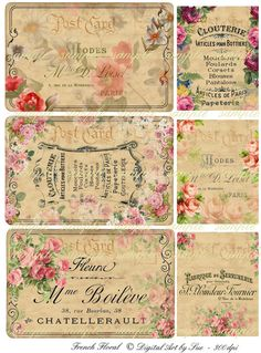 Your place to buy and sell all things handmade Vintage Labels, Vintage Ephemera, Vintage Crafts, Vintage Paper, Decoupage Printables, Shabby Chic Wallpaper, Daily Planner Pages, Old Paper, Vintage Roses