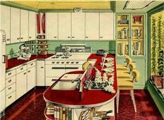 Mid Century Modern styles for the home are blending contemporary trends to form a new hybrid look. Learn how to style mid century modern furniture today. 1930s Home Decor, 1940s Home, Blue Gray Paint Colors, Mexican Style Kitchens, Retro Renovation, Kitchen Images, Mid Century House, Mid Century Modern Furniture, Vintage Kitchen