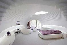 Futuristic Interior Design Ideas in Barin Sky Resort by RYRA Studio . Sky Resort, Private Jet Interior, Resort Interior, Luxury Private Jets, Futuristic Interior, Futuristic Bedroom, Futuristic Furniture, Futuristic Design, Interior Architecture