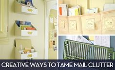 Roundup: 9 Creative Ways to Tame Mail  Although paper mail certainly has dwindled with e-mail, online bill pay, and digital magazine subscriptions, it still has a way of piling up. (BTW, does anything look good in a pile? I mean, just the word: pile. Ick.)  Here are some creative DIY projects that will finally tame the mail beast and put the pile where it belongs--out of existence.