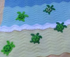 sea turtle crochet ocean baby blanket inspiration. I can't crochet but maybe I can figure out how to knit something similar.