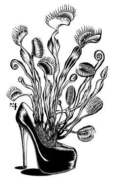 """Plante Fatale Serie of """"Savez-vous planter les Shoes ?"""" Illustration Nadia Fernandes on Behance"""