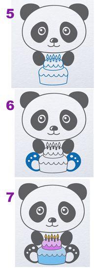 how to draw panda with birthday cake