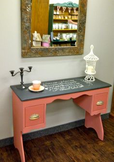 {we painted the back of an open cabinet this color}  --BB  Chalk Paint™ by Annie Sloan Scandinavian Pink and Graphite