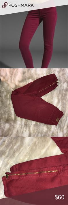 Maroon Skinny Jeans Maroon is definitely the color of the season! These maroon skinnies are the perfect addition to any denim collection. They feature a cool zipper detail on the outer lower leg, giving the pant a street-style vibe. A great pop of beautiful color on dreary winter days! Paige Jeans Jeans Skinny