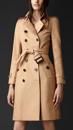 Trench coat medio in gabardine di cotone   Burberry