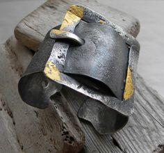 Cuff | Clare Bridge.  Sterling silver, 24K gold