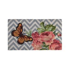 Felices Pascuas Collection Decorative Multi-Color Rose and Butterfly Spring Coir Outdoor Rectangular Door Mat 29.5 inch x 17.75 inch