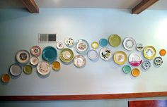 plate wall - like banquette seats I have another much smaller obsession with plates! I could do this over my seat! :)