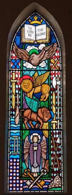The Symbols of the Four Evangelists and Apostles, 1994, Janet Hardy; stained-glass window in the Church of St Anne, Cross Hands, Carmarthenshire, Wales. (stainedglass.llgc.org.uk; photo Martin Crampin/© University of Wales Centre for Advanced Welsh and Celtic Studies)
