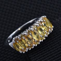 Yellow Sapphire Platinum Over Sterling Silver Ring