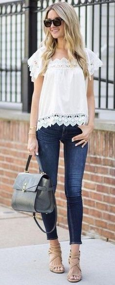#summer #trends #outfits |  White Crochet Lace Trimmed Top + Denim
