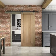 Curated by Jeld Wen Upgrade the interior of your home with this modern twist on a classic farm style Internal Stable Door Wood Stain. The traditional frame with a diagonal brace and grained Mindi wood finish give this door a chic style. Cabana, Internal Sliding Doors, Internal Cottage Doors, White Internal Doors, Sliding Wood Doors, Sliding Door Design, Fire Doors, Rico Design, Oak Doors