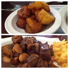 Jamaican food: oxtail plantains and Mac and cheese