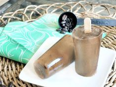 Frappuccino Pops - 35 cals each (Makes 4 popsicles) 1/2 cup nondairy milk 1/2 cup Silk creamer (see link below, for lower-calorie option) 1 tsp instant coffee (such as Mt. Hagan) 1 1/2 nunaturals stevia packets or 1 1/2 T sugar Feel free to add some chocolate syrup, for a mocha pop
