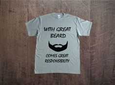 with great beard comes great responsibility; men t-shirt text; nadruk na koszulce; t-shirt z napisem; moda męska