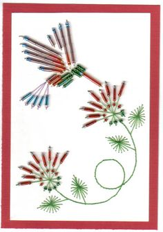 embroidery - thread and beads on card Embroidery Cards, Beaded Embroidery, Cross Stitch Embroidery, Embroidery Patterns, Hand Embroidery, Stitching On Paper, Quilt Stitching, Crazy Quilt Stitches, Sewing Cards