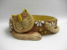 De la web Would be cute as a unique trinket dish Pottery Animals, Ceramic Animals, Clay Animals, Polymer Clay Ornaments, Polymer Clay Crafts, Slab Pottery, Ceramic Pottery, Clay Cats, Pottery Workshop