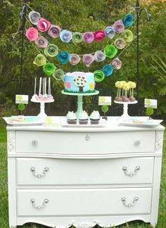 Always try to take as much 'normal' furniture outside - as long as you can wipe it down afterwards, there are lots of tables and chairs that can be used without being ruined! This pic is Garden of Eden themed birthday party with Lots of Really Cute Ideas via Kara's Party Ideas KarasPartyIdeas.com invitaion, decor, cake, favors and more! #gardenofeden #andandeve #forbiddenfruit #partystyling #partydecor #eventplanner (6)