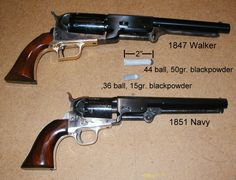 Comparison of Colt Model 1847 'Walker' .44 caliber revolver and Colt Model 1851 'Navy' .36 caliber revolver.