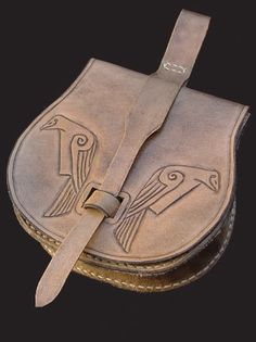 Viking pouch with , Huginn and Muninn  Odin`s two ravens