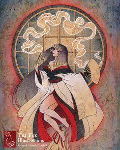 The Dream Weaver / Spirit Ghost Yokai / Japanese Asian Style Art / 8x10 Fine Art Print