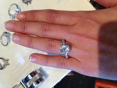 2ct diamond with a thin 14k white gold diamond band