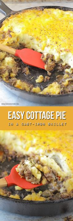 An easy cottage pie recipe with grass-fed ground beef, frozen veggies, and dried herbs in a flavorful gravy all topped with a cheesy mashed potato crust. This comforting dish goes straight from stove-top to oven using a cast-iron skillet, which gives you one less dish to wash!