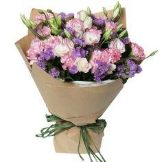 Pink Carnations Flower Bouquet with Matching Greens| HongKongFlowerShop.com Since 1998 - Hong Kong Flower Shop Limited (HongKongFlowerShop.com)