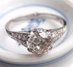 Art Deco Engagement Ring Vintage Platinum by SweetHeirloomVintage, $3500.00